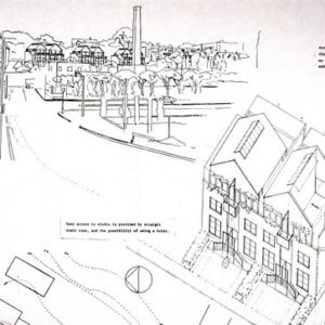 Aerial view of the proposed Artist Housing Complex (ink on paper).