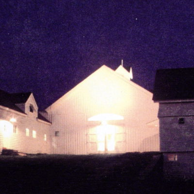 View looking at the entry to the winery at night.