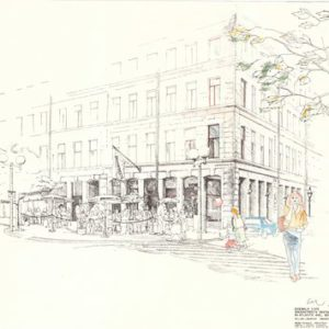 Greenstreet's Restaurant, Boston MA - View of sidewalk cafe in front of a proposed restaurant in the old Mercantile Building (ink on paper with colored pencils).