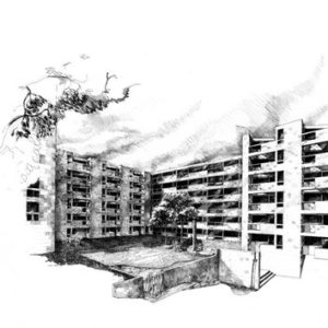 View of the courtyard with water element and related landscape features. (Ink on paper)