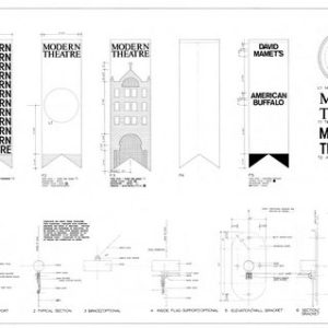 Construction drawing for the fabrication of five banners of the Modern Theatre (ink on paper).
