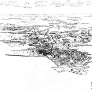 View of Stonington Point showing the proposed renovation and new construction at a plastic bead company (ink on paper).