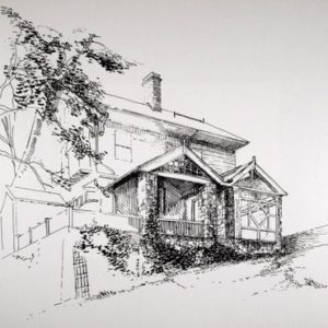 View looking upward showing the addition of an enclosed porch joined to the existing open porch (ink on paper).