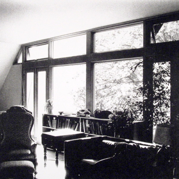 View of the living room and the deck beyond