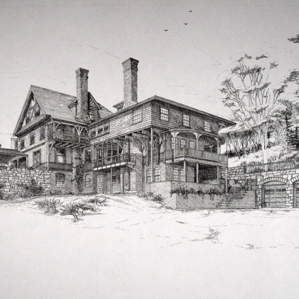 Gerrity Residence -View looking southwest at the original house, the new kitchen solarium and porch and the doors of the new underground garage (ink on paper).