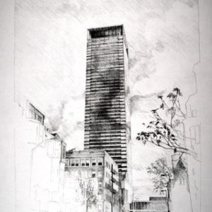 View of the prudential tower showing the proposed replacement skin with it's articulated corner (pencil on paper).