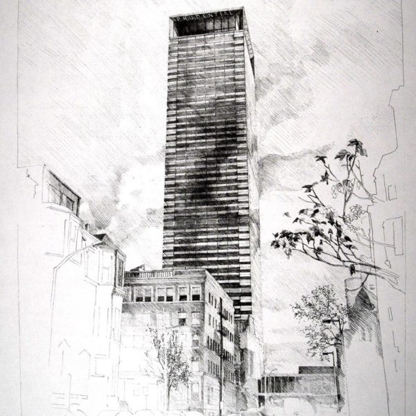 Prudential Fascade Proposal, Boston, MA Webb View of the Prudential Tower showing the proposed replacement skin with its articulated corners. (Pencil on paper)