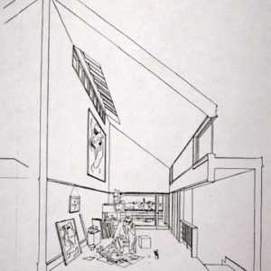 Interior view of studio within the Artist's Housing Complex (ink on paper).