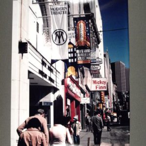 Modern Theater, Boston ,MA - View looking down Washington Street at the front of the Modern Theatre (ink on paper).