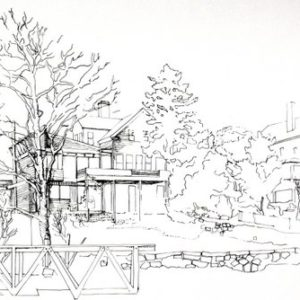Hollowell House _ Manchester, MA -  View of the original house and the proposed addition looking Northwest from the harbor's edge (ink on paper).