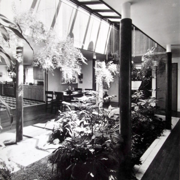 View looking at the atrium courtyard from the kitchen