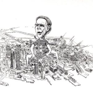 Boston Globe Cartoon of Mayor White, Boston MA.