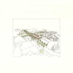 Winthrop Center Gateway - Winthrop, MA - Aerial view looking at the proposed changes to Winthrop town center (ink on paper with colored pencil).